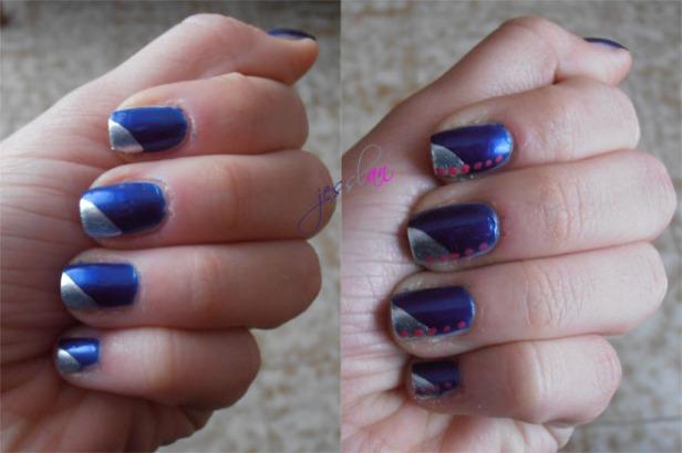 Nail art blu argento e pois fucsia