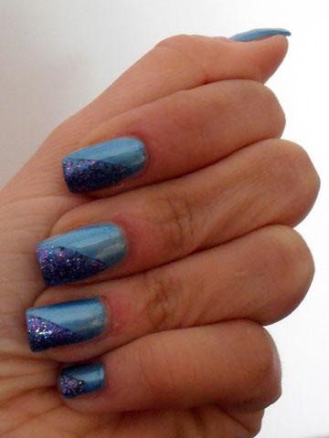azzurro essence con glitter topper viola