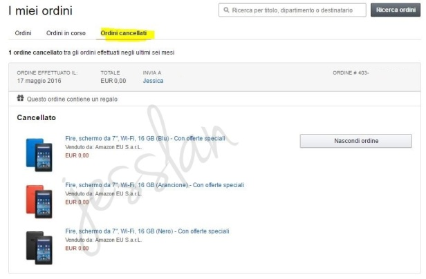 annullamento ordine amazon kindle