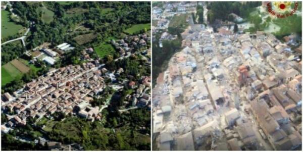 Amatrice prima e dopo il terremoto del 24 agosto 2016