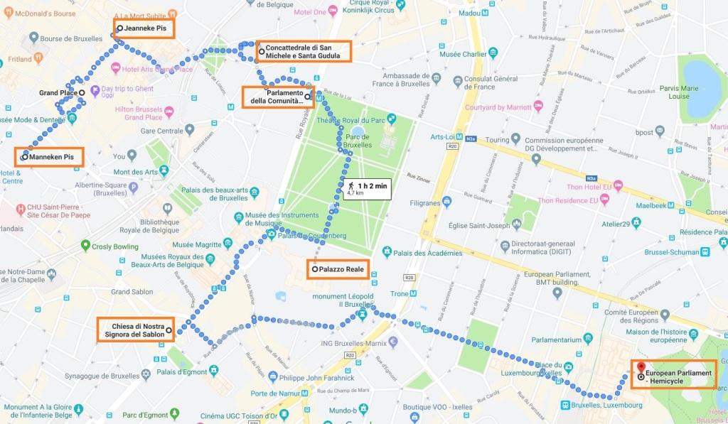 Percorso a piedi a Bruxelles in un giorno